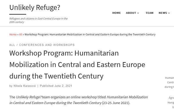 Atelier Humanitarian Mobilization in Central and Eastern Europe during the Twentieth Century